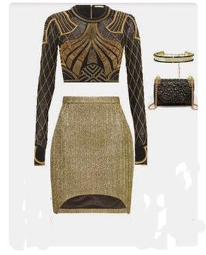 Two piece and skirt gold