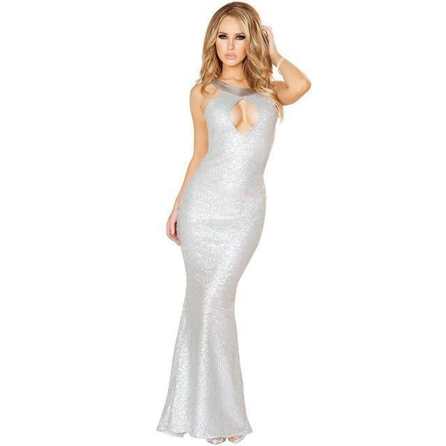 Hollow Out bridesmaid long sequin dresses