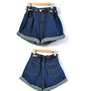 high waist denim shorts jeans with Belt