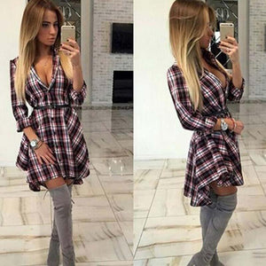 Plaid Long Sleeve Casual Dresses