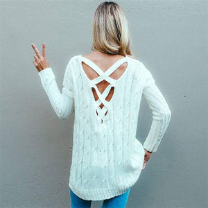 Criss cross top Backless knitted sweater