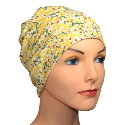 Cozy Collection - Yellow Print - POPULAR - Hello Courage | Chemo Hats - Cancer Caps - Cancer Scarves - Headcovers - Cancer Beanies - Headwear for Hair Loss - Gifts for  Cancer Patients with Hair Loss - Alopecia