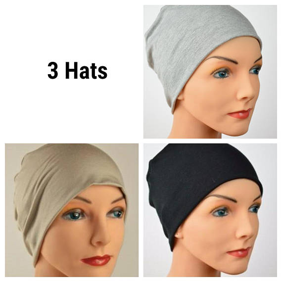 Cozy Collection - 3 hats - Organic Bamboo - Black, Gray, Cappuccino Tan - Hello Courage | Chemo Hats - Cancer Caps - Cancer Scarves - Headcovers - Cancer Beanies - Headwear for Hair Loss - Gifts for  Cancer Patients with Hair Loss - Alopecia