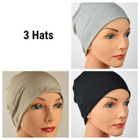 Cozy Collection - 3 hats - Organic Bamboo - Black, Gray, Cappuccino Tan