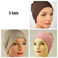 Cozy Collection - 3 hats ...Organic Bamboo - Brown, Pink, Cappuccino