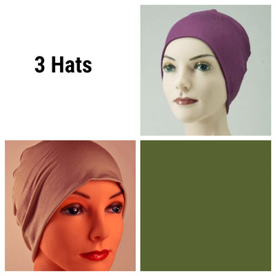 Cozy Collection - 3 hats - Organic Bamboo - Eggplant Purple, Chestnut Tan, Moss Green - Hello Courage | Chemo Hats - Cancer Caps - Cancer Scarves - Headcovers - Cancer Beanies - Headwear for Hair Loss - Gifts for  Cancer Patients with Hair Loss - Alopecia