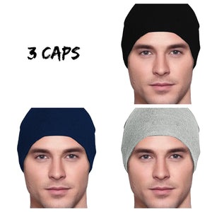 Men's Collection - 3 hats - Organic Bamboo - Black, Navy Blue, Heather Gray - Small/Medium & Large - Hello Courage | Chemo Hats - Cancer Caps - Cancer Scarves - Headcovers - Cancer Beanies - Headwear for Hair Loss - Gifts for  Cancer Patients with Hair Loss - Alopecia