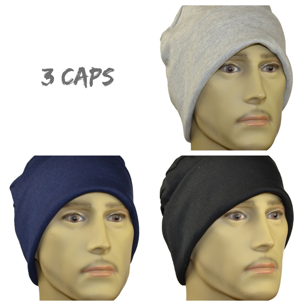 Men's Collection - 3 caps lightweight sweatshirt fabric, Black, Navy, Gray - Hello Courage | Chemo Hats - Cancer Caps - Cancer Scarves - Headcovers - Cancer Beanies - Headwear for Hair Loss - Gifts for  Cancer Patients with Hair Loss - Alopecia