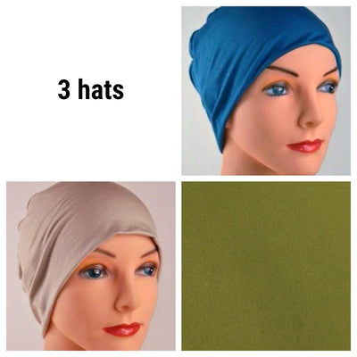 Cozy Collection - 3 hats - Organic Bamboo - Topaz Blue, Cappuccino, Moss Green - Hello Courage | Chemo Hats - Cancer Caps - Cancer Scarves - Headcovers - Cancer Beanies - Headwear for Hair Loss - Gifts for  Cancer Patients with Hair Loss - Alopecia