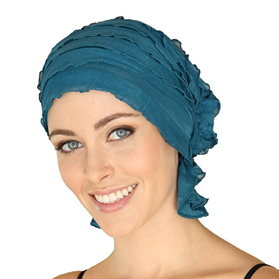 French Collection - Sea Blue Teal Ruffle RITA by Chemo Beanies - Hello Courage | Chemo Hats - Cancer Caps - Cancer Scarves - Headcovers - Cancer Beanies - Headwear for Hair Loss - Gifts for  Cancer Patients with Hair Loss - Alopecia