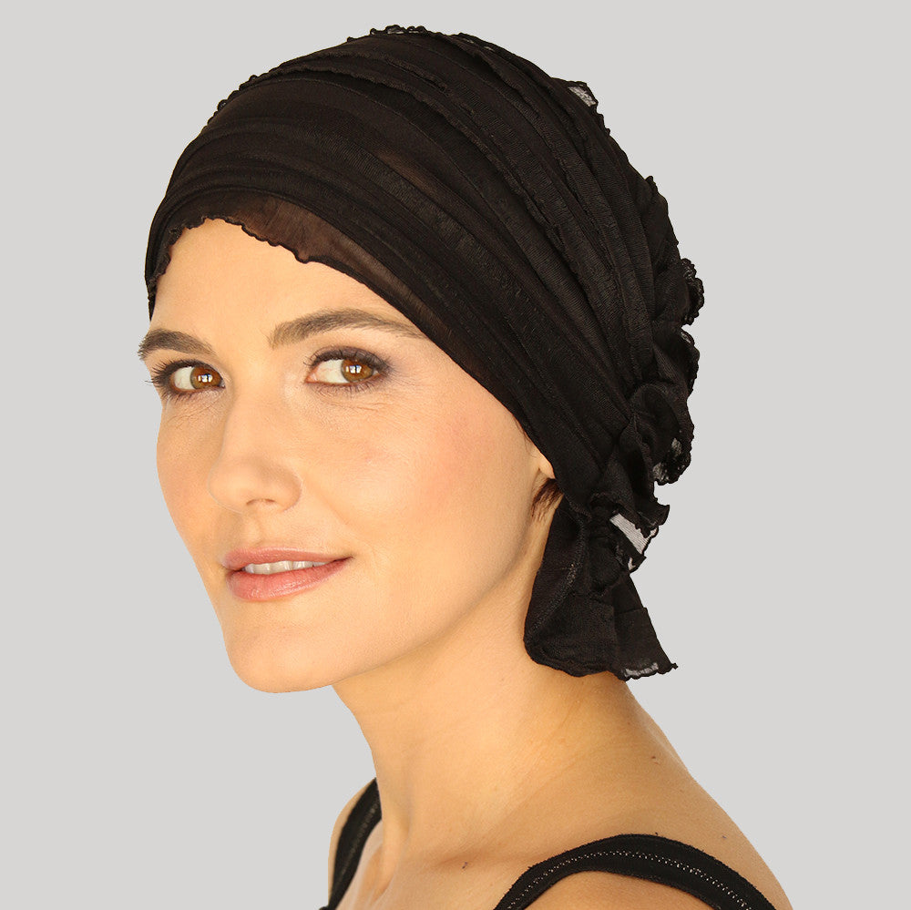 French Collection - BLACK - Angelle by Chemo Beanies® - Hello Courage | Chemo Hats - Cancer Caps - Cancer Scarves - Headcovers - Cancer Beanies - Headwear for Hair Loss - Gifts for  Cancer Patients with Hair Loss - Alopecia