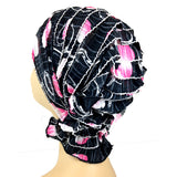 French Collection - Black, White, Fuschia - Delia by Chemo Beanies - Hello Courage | Chemo Hats - Cancer Caps - Cancer Scarves - Headcovers - Cancer Beanies - Headwear for Hair Loss - Gifts for  Cancer Patients with Hair Loss - Alopecia