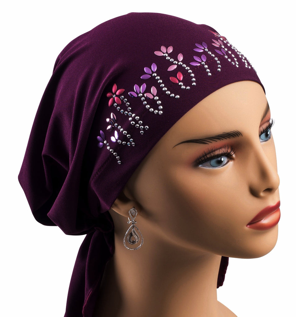 Pre-Tied Short  Scarf- Purple with Multi-Color Rhinestones - Hello Courage | Chemo Hats - Cancer Caps - Cancer Scarves - Headcovers - Cancer Beanies - Headwear for Hair Loss - Gifts for  Cancer Patients with Hair Loss - Alopecia