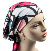 Pre-Tied Short Scarf - Black, Fuschia, Gray, Pink, White