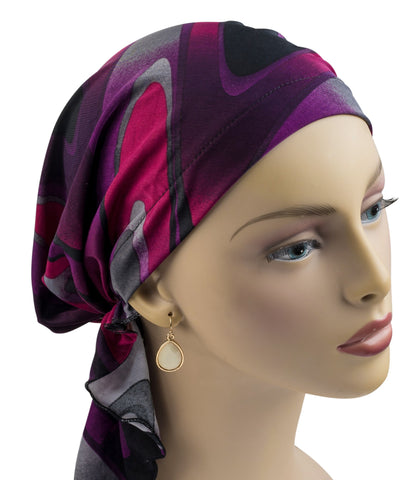 Pre-Tied Mid-Length Scarf - Purple Passion