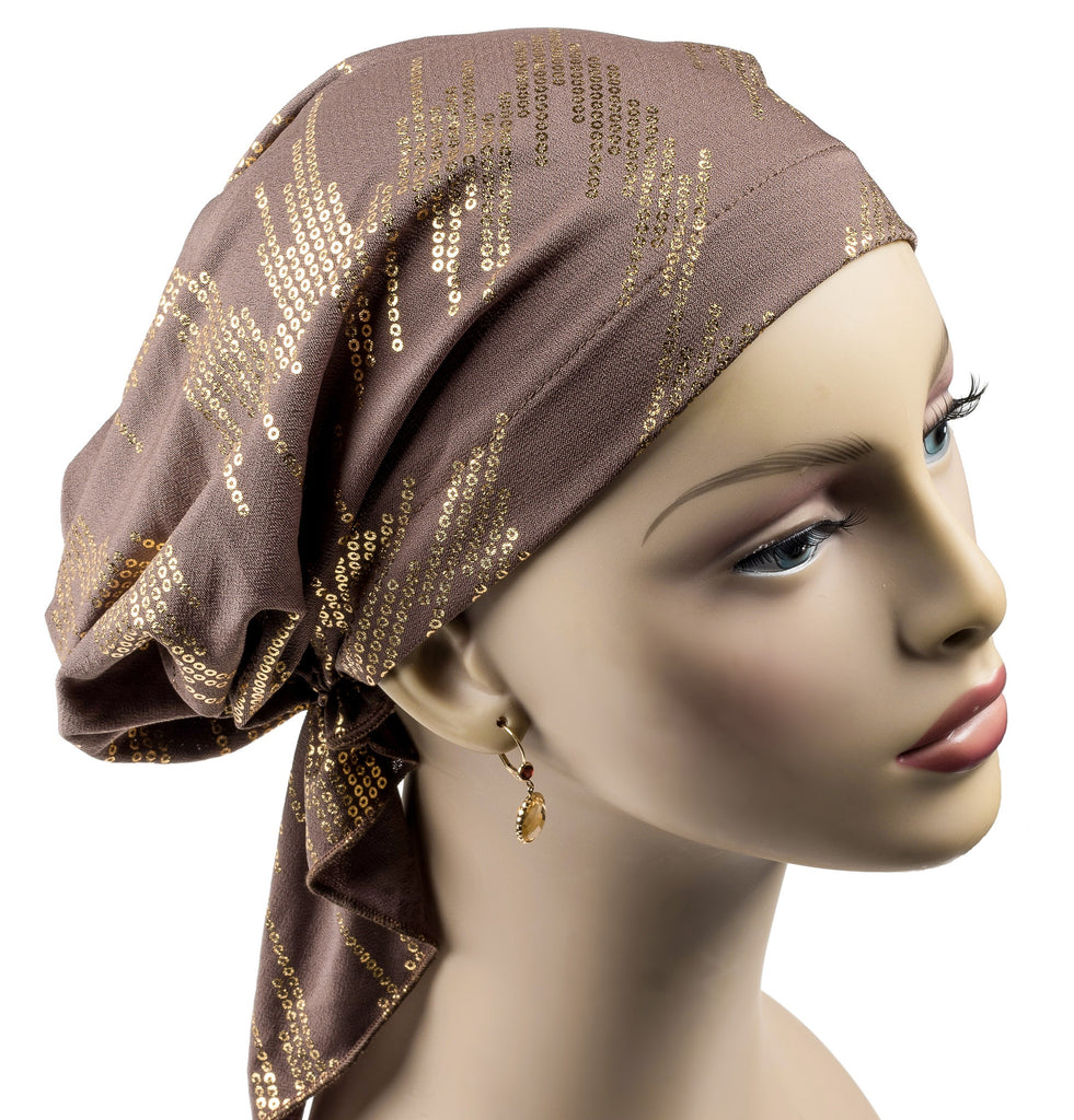 Summer Breeze Pre-Tied Mid-Length Scarf - Cocoa Pop - Hello Courage | Chemo Hats - Cancer Caps - Cancer Scarves - Headcovers - Cancer Beanies - Headwear for Hair Loss - Gifts for  Cancer Patients with Hair Loss - Alopecia