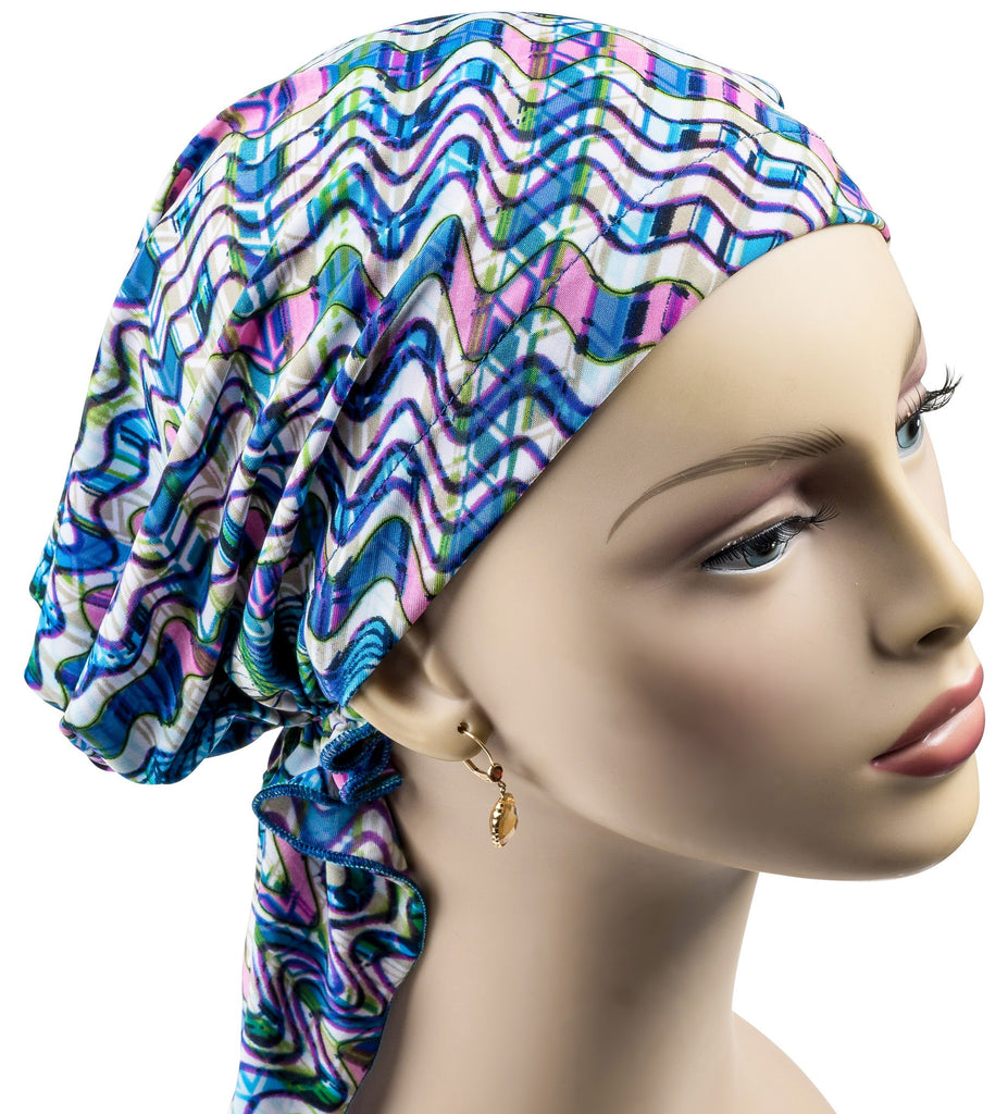Pre-Tied Short Scarf - Blue, Pink, Purple, White - Hello Courage | Chemo Hats - Cancer Caps - Cancer Scarves - Headcovers - Cancer Beanies - Headwear for Hair Loss - Gifts for  Cancer Patients with Hair Loss - Alopecia