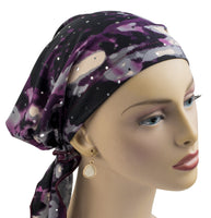 Pre-Tied Short Scarf - Purple & Gray with Rhinestones