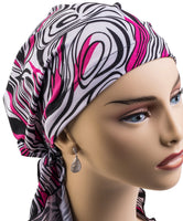 Pre-Tied Short Scarf - Black, Light Gray, Fushia Pink