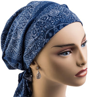 Pre-Tied Short Scarf - Denim Paisley