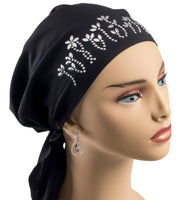 Pre-Tied Short  Scarf- Black and Silver Rhinestones