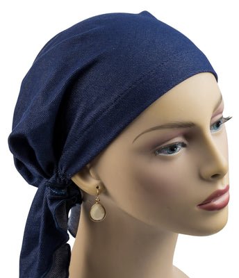 Summer Breeze Pre-Tied Short Scarf - Denim Blue knit - Hello Courage | Chemo Hats - Cancer Caps - Cancer Scarves - Headcovers - Cancer Beanies - Headwear for Hair Loss - Gifts for  Cancer Patients with Hair Loss - Alopecia