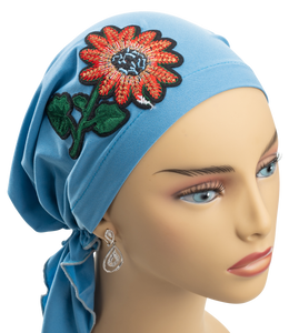 Pre-Tied Short  Scarf- Light Blue with Flower