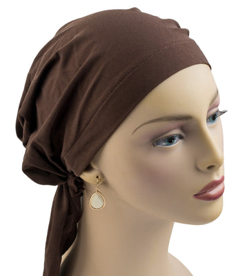 Pre-Tied Short Scarf - Brown