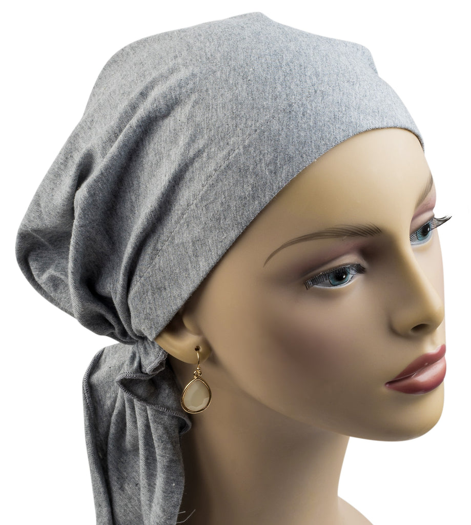 Pre-Tied Short Scarf - Soft Cotton Knit in Heather Gray