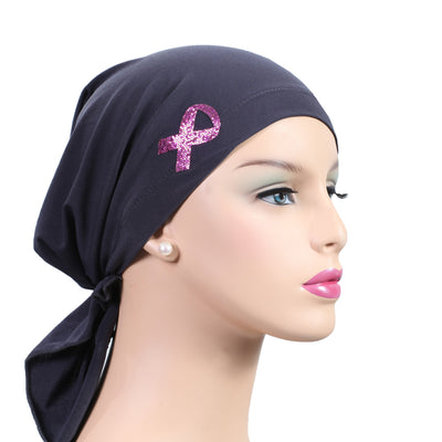 Pre-Tied Short Scarf - Black with Rhinestone Pink Ribbon Awareness