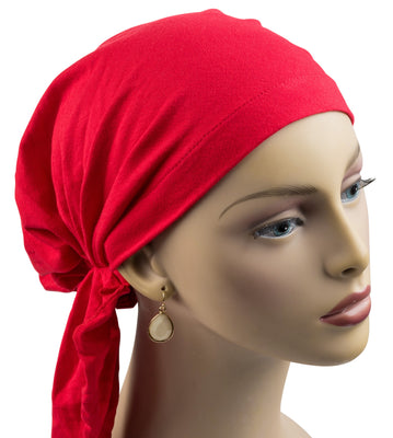 Pre-Tied Short Scarf - Soft Cotton Knit in Red - Hello Courage | Chemo Hats - Cancer Caps - Cancer Scarves - Headcovers - Cancer Beanies - Headwear for Hair Loss - Gifts for  Cancer Patients with Hair Loss - Alopecia