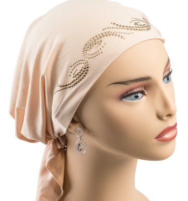Pre-Tied Short  Scarf- Cappuccino Beige with Gold Rhinestone Accents
