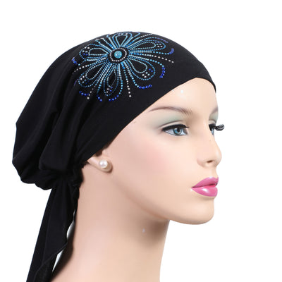 Pre-Tied Short  Scarf-Black with Multi-Color Starburst Rhinestones