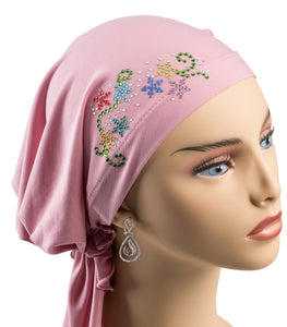 Pre-Tied Short Scarf - Pink with Colorful Rhinestones
