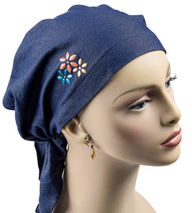 Pre-Tied Short Scarf - Denim Blue knit with Rhinestone Colorful Detail