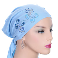 Summer Breeze Pre-Tied Short  Scarf- Light Blue with Multi-Color Rhinestones
