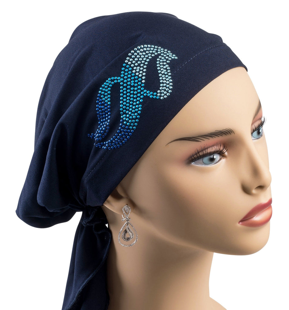 Pre-Tied Short  Scarf-Navy Blue with Multi-Color Rhinestones - Hello Courage | Chemo Hats - Cancer Caps - Cancer Scarves - Headcovers - Cancer Beanies - Headwear for Hair Loss - Gifts for  Cancer Patients with Hair Loss - Alopecia