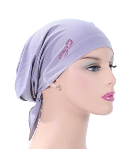 Pre-Tied Short Scarf - Light Gray with Rhinestone Pink Ribbon Awareness