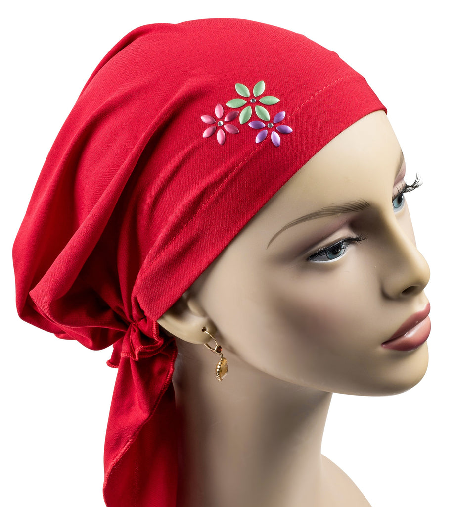 Pre-Tied Short  Scarf- Fuschia Hot Pink with Silver Rhinestones - Hello Courage | Chemo Hats - Cancer Caps - Cancer Scarves - Headcovers - Cancer Beanies - Headwear for Hair Loss - Gifts for  Cancer Patients with Hair Loss - Alopecia
