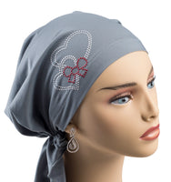 Pre-Tied Short Scarf - Light Gray with Rhinestone Hearts
