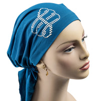 Pre-Tied Short  Scarf- Teal and Silver Rhinestones