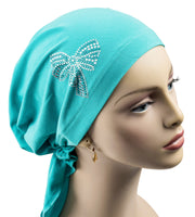 Pre-Tied Short  Scarf- Teal with Teal and Silver Rhinestones