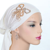 Pre-Tied Short  Scarf- Creamy White with Gold Rhinestone Accents
