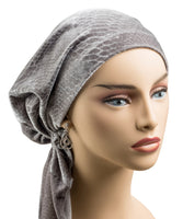 Pre-Tied Short Scarf -Gray Velvet - stunning! LAST ONE