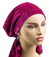 Pre-Tied Short Scarf -Magenta Velvet - the wow!