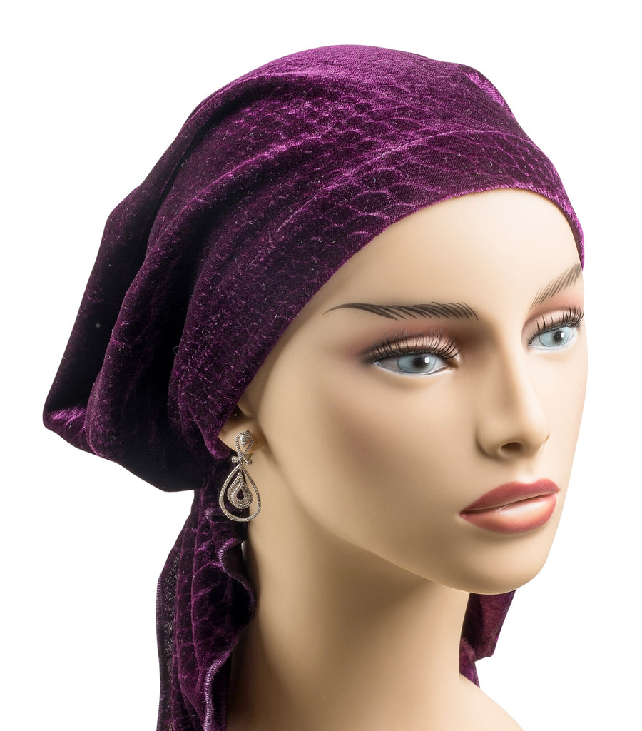 Pre-Tied No Tie Short Scarf -Purple Plum Velvet - stunning! - Hello Courage | Chemo Hats - Cancer Caps - Cancer Scarves - Headcovers - Cancer Beanies - Headwear for Hair Loss - Gifts for  Cancer Patients with Hair Loss - Alopecia