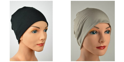 Cozy Collection - 2 hats ...Black and Cappuccino - Neutrals - Hello Courage | Chemo Hats - Cancer Caps - Cancer Scarves - Headcovers - Cancer Beanies - Headwear for Hair Loss - Gifts for  Cancer Patients with Hair Loss - Alopecia