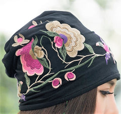 Designer Collection - Black Colorful Embroidery Cap