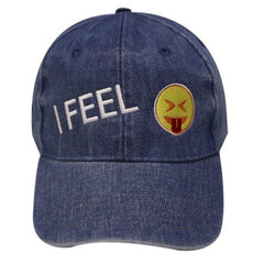 Budget Collection - I FEEL (emoji with tongue sticking out) Denim Cap with bonus headband