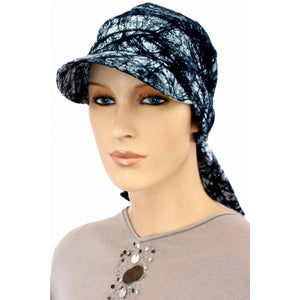 SUN HAT with Visor  - Black & Light Gray Print - Hello Courage | Chemo Hats - Cancer Caps - Cancer Scarves - Headcovers - Cancer Beanies - Headwear for Hair Loss - Gifts for  Cancer Patients with Hair Loss - Alopecia
